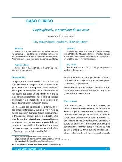 CASO CLINICO Leptospirosis, a propósito de un caso