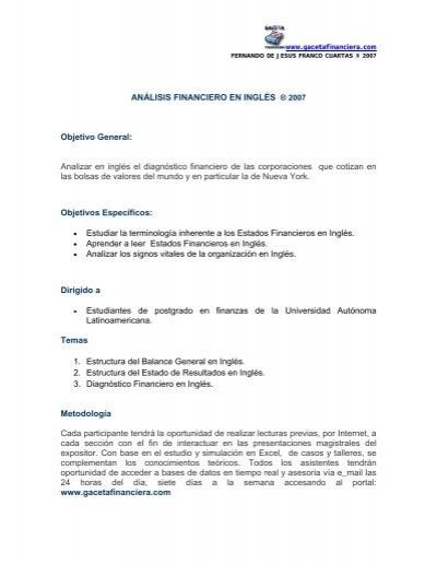 Program Gaceta Financiera