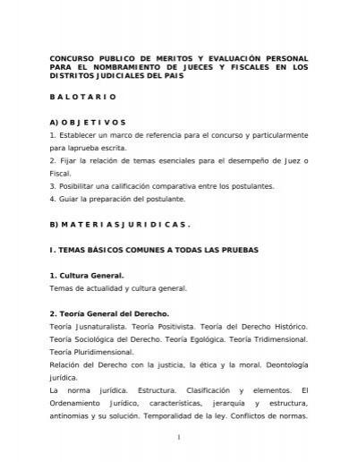 Balotario Del Concurso De Nombramiento De Jueces Y Fiscales