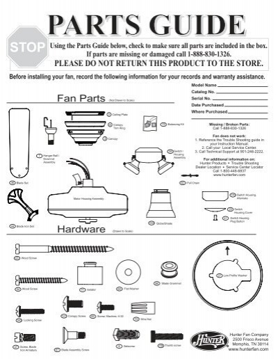 Fan Parts List : Parts guide hunter fan