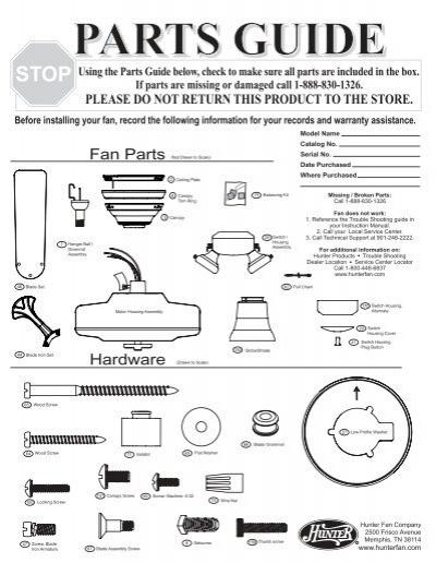Parts Guide Hunter Fan