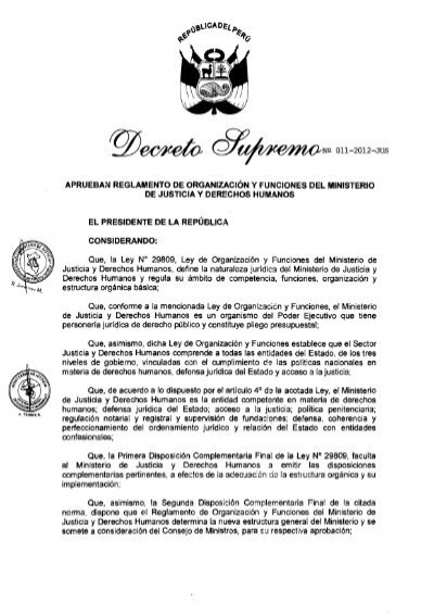 Decreto Supremo Nã â 011 2012 Jus Ministerio De Justicia