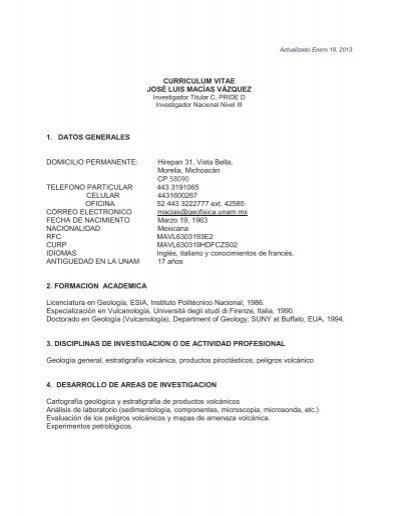 Curriculum Vitae Biblioteca Conjunta De Ciencias De La Tierra