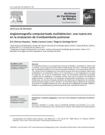 Pulmonar diagnostico angiotomografia computada de mediante tromboembolia