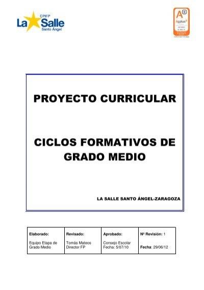 Proyecto Curricular Ciclos Formativos De Grado Medio
