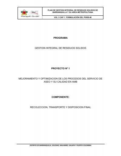 Programa gestion integral de residuos solidos proyecto n - Gestion integral de proyectos ...