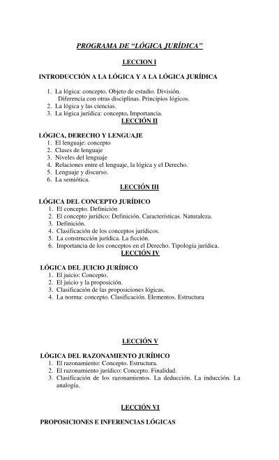 Programa De â œlã Gica Jurã Dicaâ Facultad De Derecho