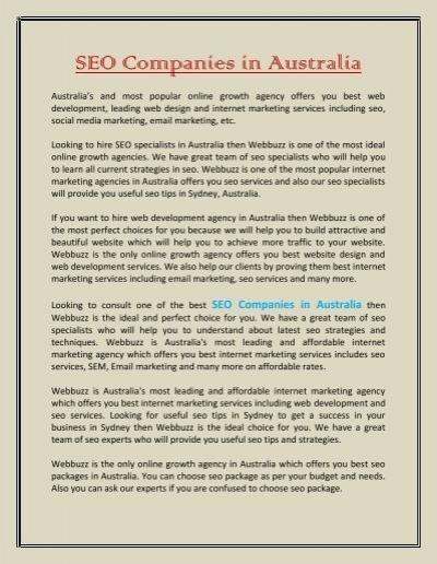 Seo Companies In Australia