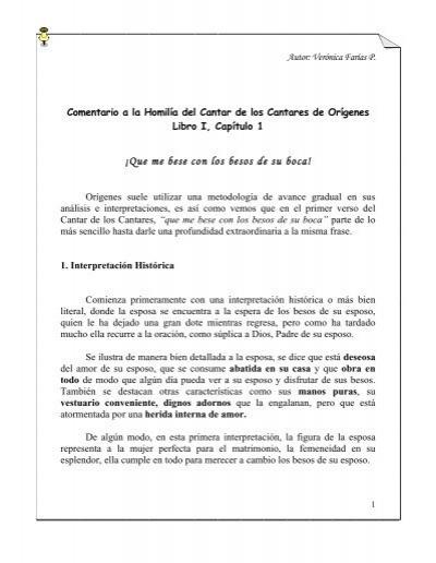 Comentario A La Homilãa Del Cantar De Los Misticayrazoncl