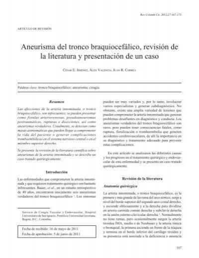 Aneurisma del tronco braquiocefálico, revisión de la literatura y ...