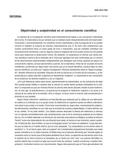 objetividad y subjetividad pdf