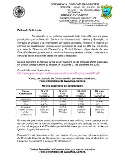 requisitos y costos licencias de construccion junio 2010 h