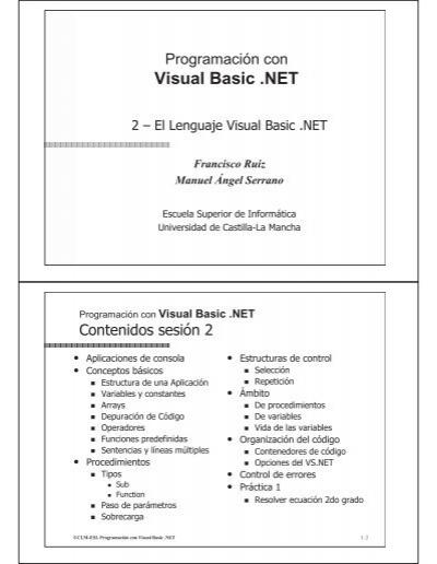 Visual Basic Net Universidad De Castilla La Mancha