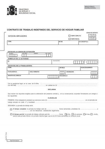 contrato de trabajo indefinido del servicio de hogar familiar On contrato de trabajo hogar familiar
