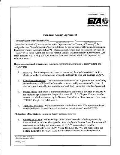 Eta Financial Agency Agreement Financial Management Service