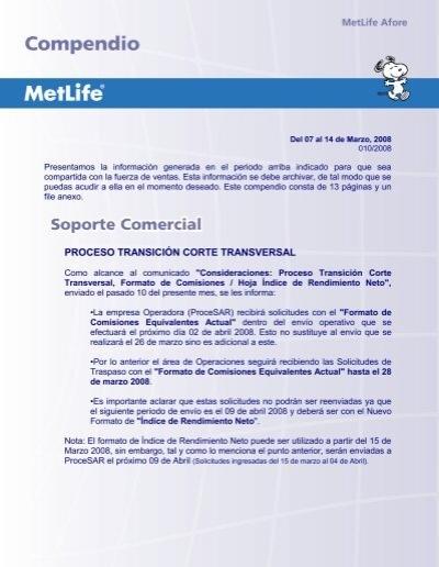 """PROCESO TRANSICIÃ""""N CORTE TRANSVERSAL - MetLife"""