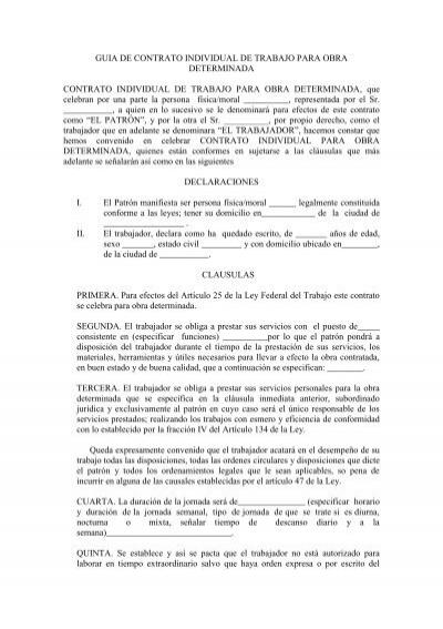 Contrato Individual De Trabajo Por Tiempo Indeterminado