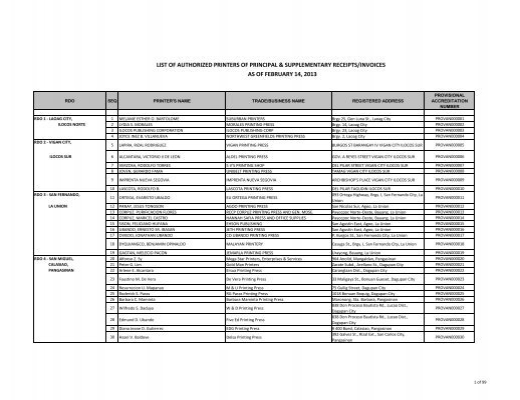 List Of Authorized Printers Of Principal Supplementary