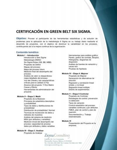 Certificación En Green Belt Six Sigma