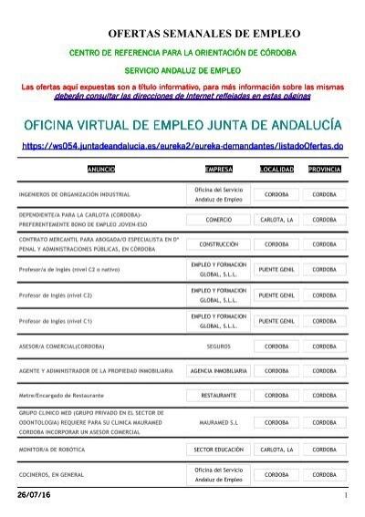 oficina virtual de empleo junta de andaluc a