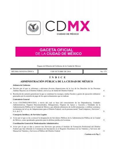 í N D I C E Administración Pública De La Ciudad De México