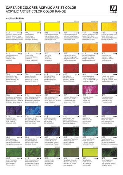 carta de colores acrylic artist color - Acrylicos Vallejo