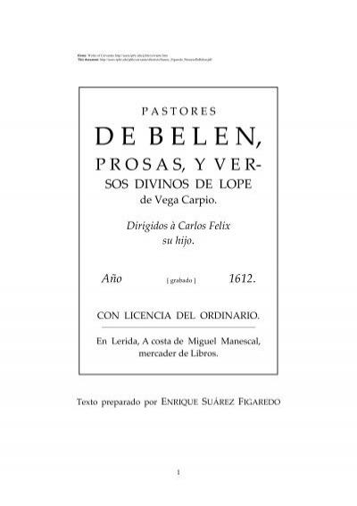 Pastores De Belén Prosas Y Versos Divinos De Lope De Vega Carpio
