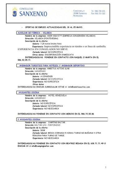 Ofertas de empleo privado 18 al 25 mayo concello de sanxenxo for Ofertas de empleo en fabricas