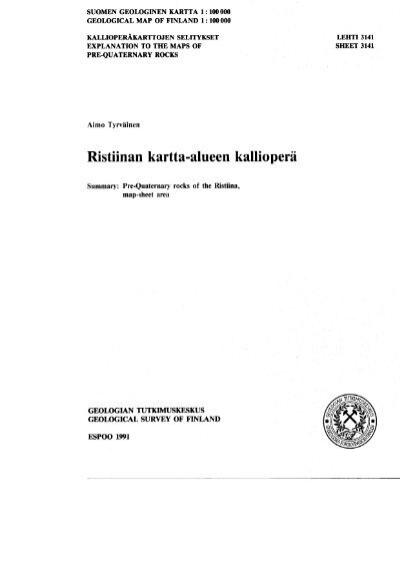 Ristiinan Kartta Alueen Kalliopera Arkisto Gsf Fi Geologian