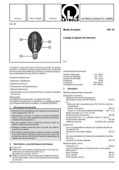 Leybold didactic gmbh mode d 39 emploi 451 15 lampe vapeur Mode d emploi lampe berger