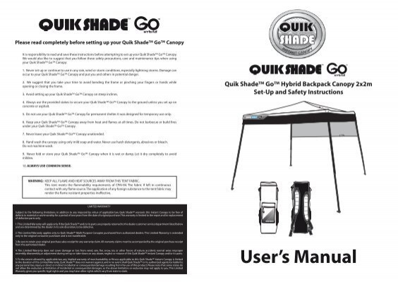 Users Manual Quik Shade The Instant Canopy