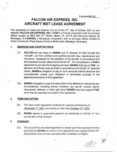 Falcon Air Express Inc Aircraft Wet Lease Agreement