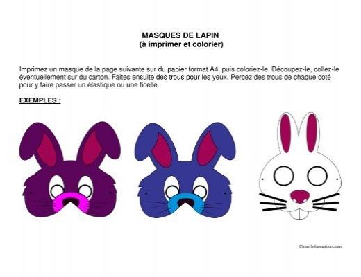Masques De Lapin A Imprimer Et Colorier Chine Informations