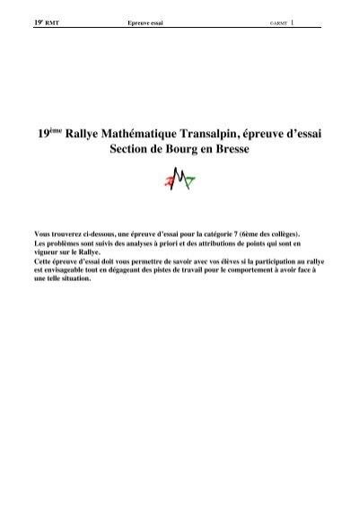 23 Rallye Mathématique Transalpin Epreuve d'essai Section de