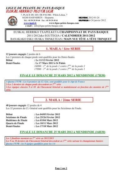Calendrier Pole.Main Nue Tt Calendrier Ligue De Pelote Du Pays Basque