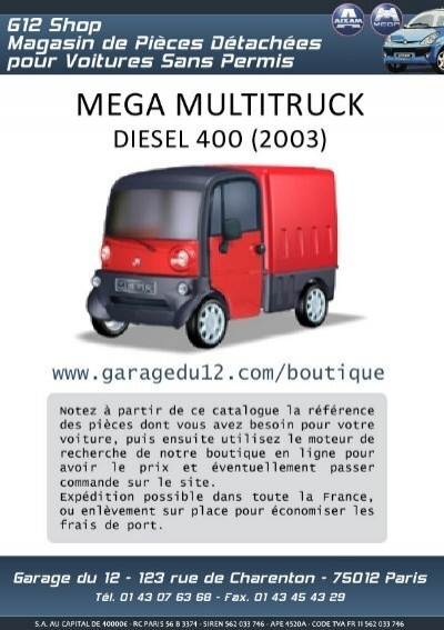 mega multitruck diesel 400 sans permis garage du 12