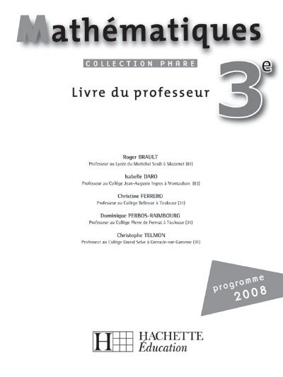 correction livre maths 3eme hachette 2008