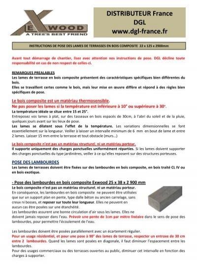 Instructions De Pose Lames Bois Composite Exwood Dgl France