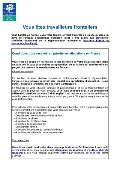 Vous Etes Travailleurs Frontaliers Caf Fr
