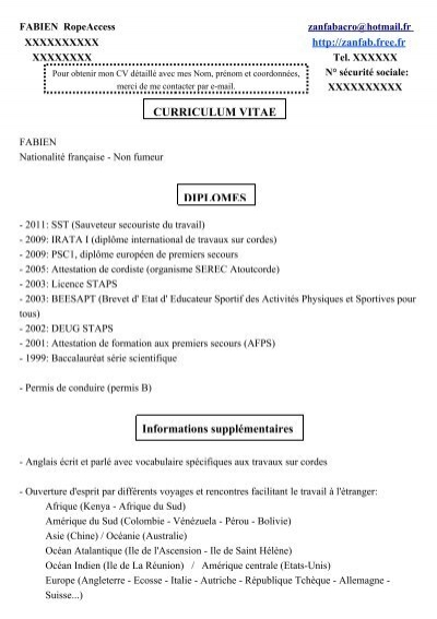 diplomes curriculum vitae informations