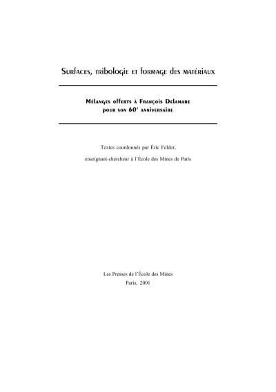 materiaux et surfaces en tribologie
