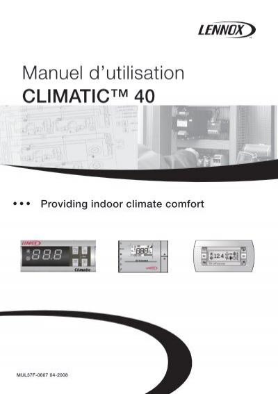 climatic 40 manuel d 39 utilisation lennox. Black Bedroom Furniture Sets. Home Design Ideas
