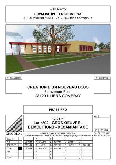 Cctp lot 02 gros oeuvre demol desamiantage dojo illiers for Cctp architecte