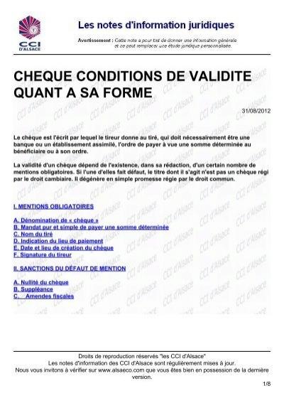 Cheque Conditions De Validite Quant A Sa Forme Alsaeco