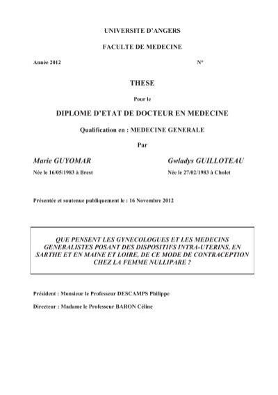 THESE DIPLOME D'ETAT DE DOCTEUR EN MEDECINE ... - DUNE