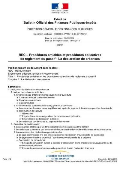 Bulletin Officiel Des Finances Publiques Impots Rec Procedures