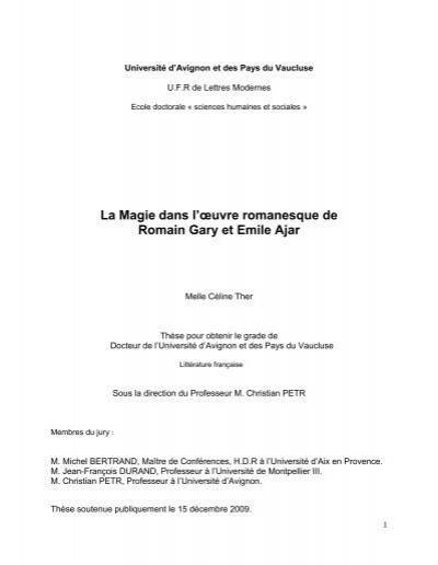 La Magie Dans L Oeuvre Romanesque De Romain Gary Et Emile Ajar