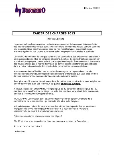 Tlcharger Le Cahier Des Charges  Boscarino Construction Sprl