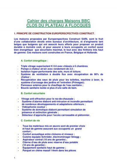 Delightful Cahier Des Charges Maisons Bbc Clos Du Plateau A Flocques