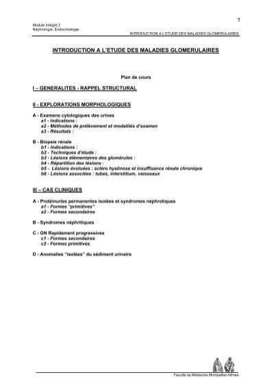 1 introduction a l'etude des maladies glomerulaires - Faculté de ...